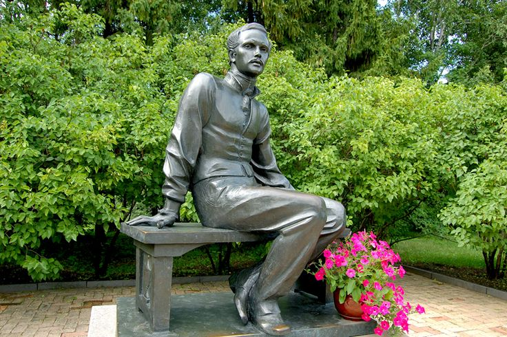 """poet M.Lermontov sculpture at family country house """"Tarhany"""""""