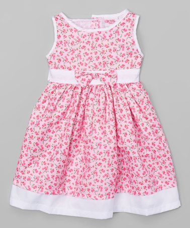 Pink & White Floral A-Line Dress - Infant, Toddler & Girls #zulily #zulilyfinds
