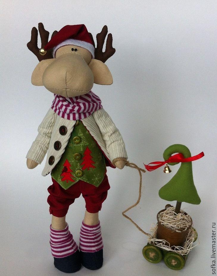 Купить Новогодний Лосик - бордовый, интерьерная кукла, интерьерная игрушка, новогодний подарок, новогоднее украшение
