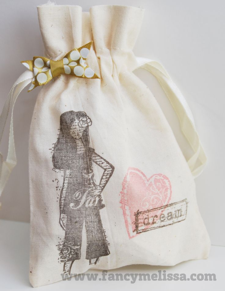 Handstamped Muslin Gift Bag www.fancymelissa.com #ctmh #dreamer #arianabows #pigmentink #diy