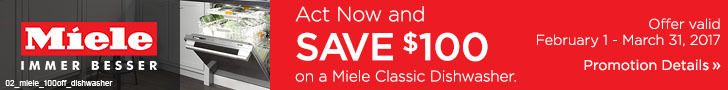 Buy a Miele classic dishwasher and save $100. Offer valid through March 31. Learn more: http://www.bobmillers.com/promotions/promos