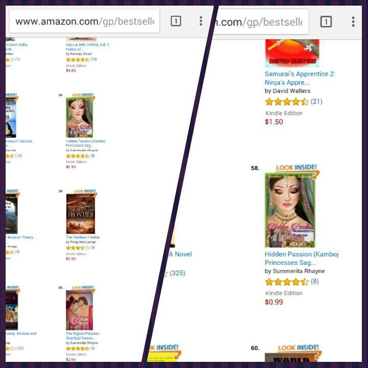 Both of my historicals in #bestseller recommended category at Amazon  Hidden Passion also featured in Asian historical fiction bestsellers.