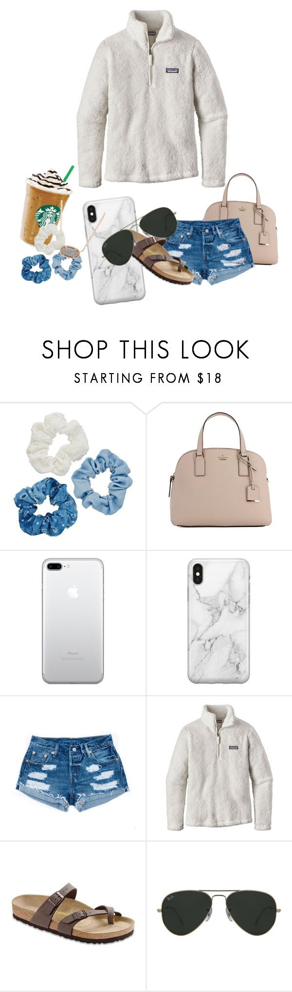 """""""Shopping Trip"""" by rachelle558 ❤ liked on Polyvore featuring Mudd, Kate Spade, Recover, Patagonia, Birkenstock, Ray-Ban and Kendra Scott"""