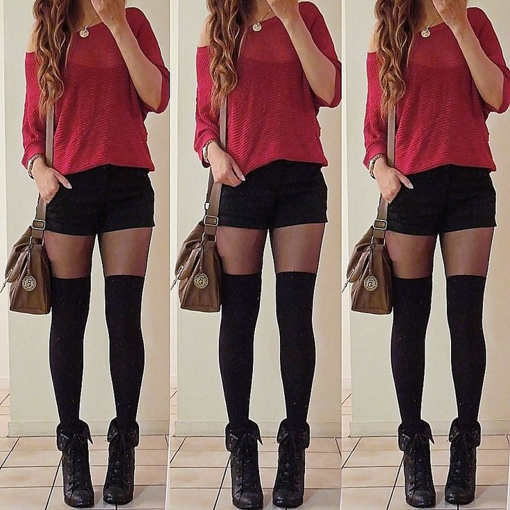 Love the ankle boots with thigh high nylons
