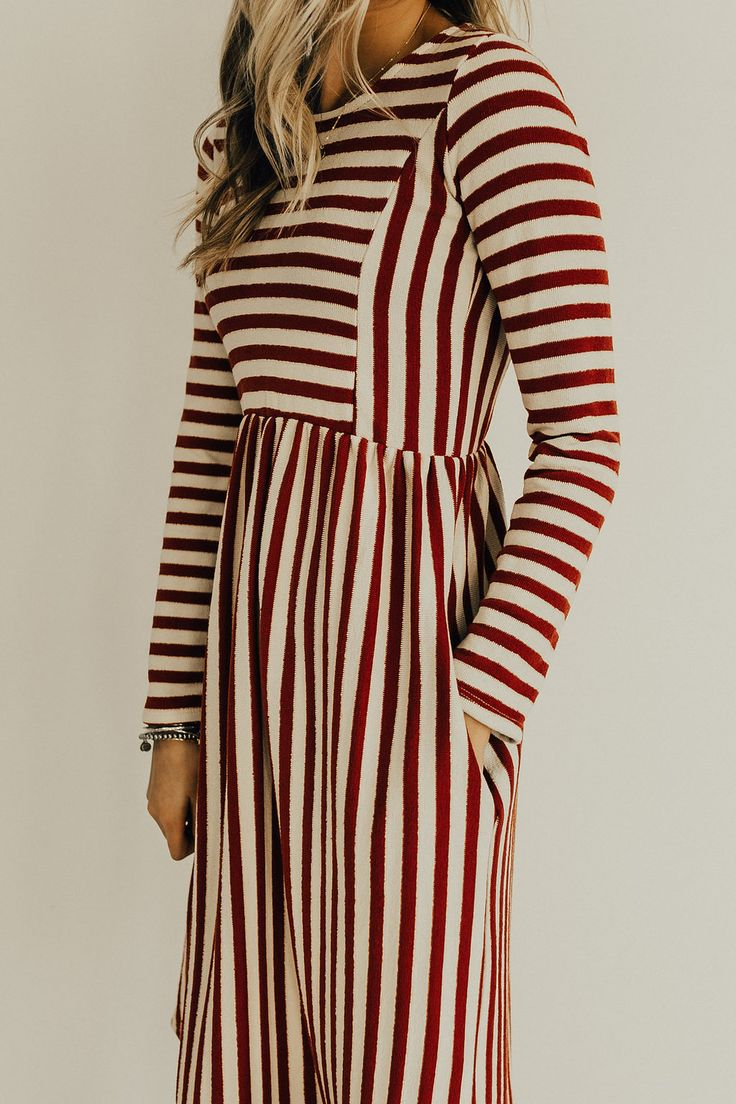 ROOLEE — Elm Stripe Dress in Cranberry