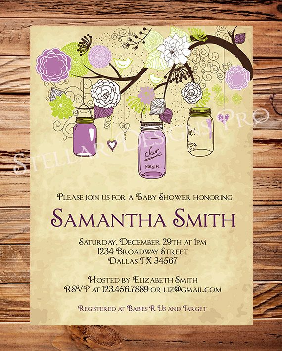 Vintage Baby Shower Invitation Purple Gender by StellarDesignsPro, $20.00