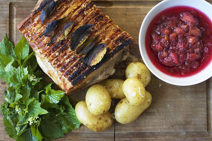 Ribbensteg med sommergrønt // Pork roast the danish way with rhubarb