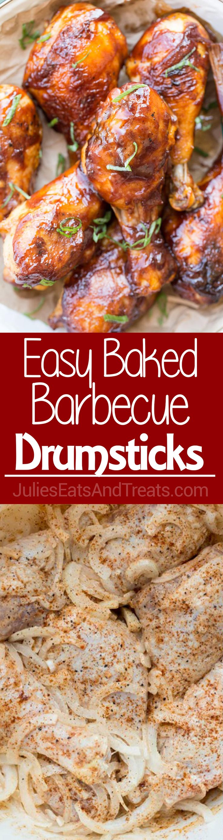 Easy Baked Barbecue Chicken Drumsticks ~ Marinated Drumsticks Make an Easy Dinner Recipe! Bake them and Finish with Barbecue Sauce for Juicy, Flavorful Drumsticks! ~ http://www.julieseatsandtreats.com