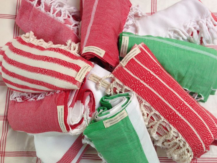Xmas colours. Turkish towels make the perfect Xmas gift from  www.belindapeet.com.au
