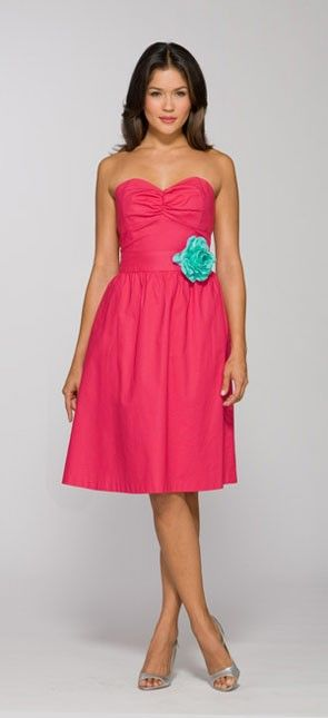 bright pink cotton bridesmaid dress with aqua flower   See more preppy bridesmaid dresses here: http://www.mywedding.com/articles/preppy-bridesmaid-dresses/