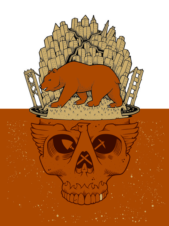 CITY AND STATE print by Jeremy Fish: Grizzly Skull, Art Typo Design, Screens Prints, Art Design Architecture Shiz, Fish Screens, Art Prints, Fish Cities