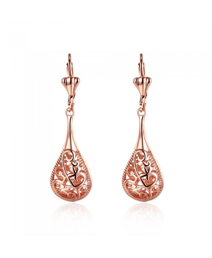 Creative Vintage Lute Rose Gold Earrings Palace Flower Pattern