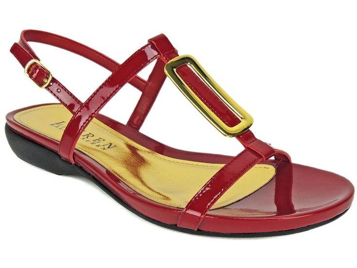 Lauren Ralph Lauren Women's Kat Flat Sandals RL Bright Red Patent Size 5.5 B #RalphLauren #TStrap #SummerNightOutCasual
