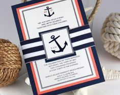Invitaciones de boda ancla náutica de botella invitaciones