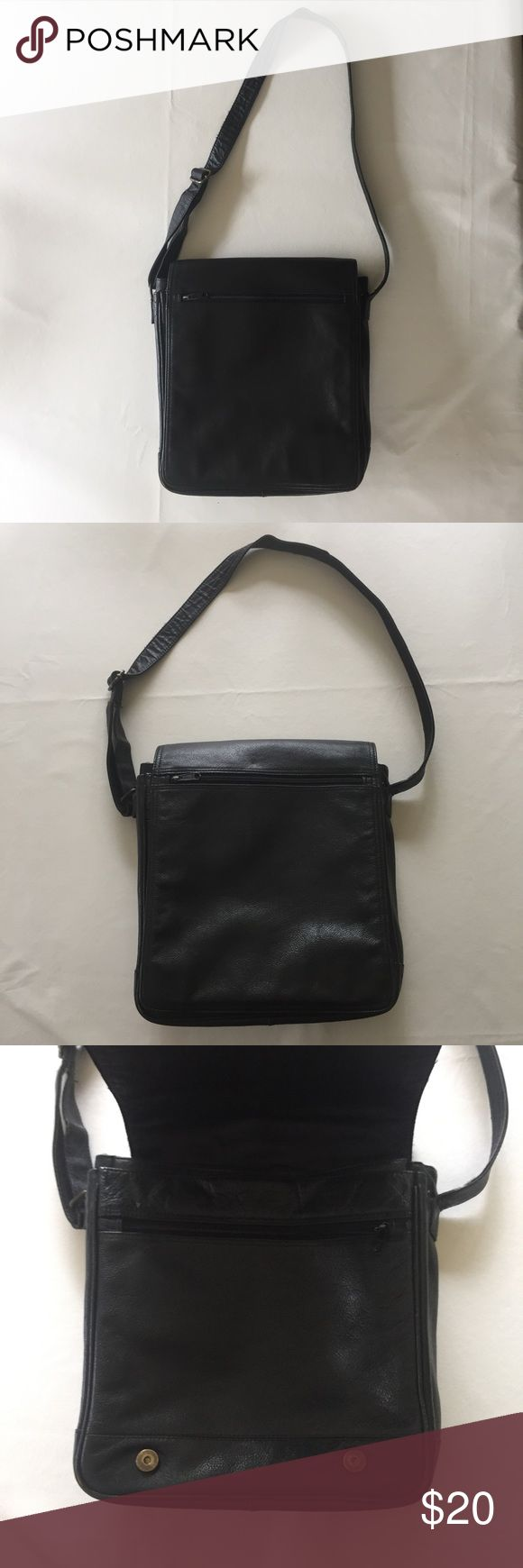 Vintage Wilson's leather Satchel Black leather cross body satchel. Magnetic double snap closure with interior pockets and sleeve for small laptop or tablet. Black leather, only looks better with age, little wear on edge shown in photo. Open to offers and bundles. Wilsons Leather Bags Crossbody Bags