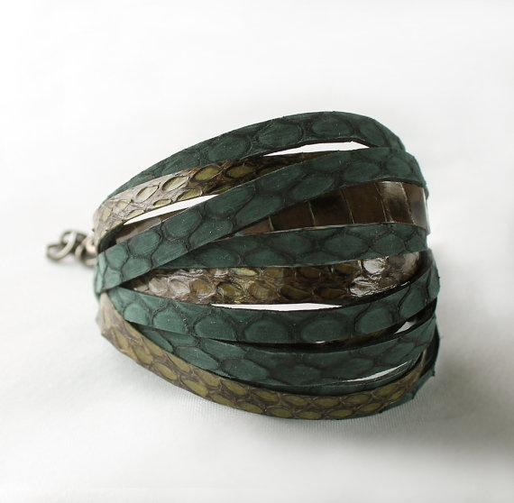 Python snake skin bracelet  greenolive green by sonhee on Etsy, $48.00