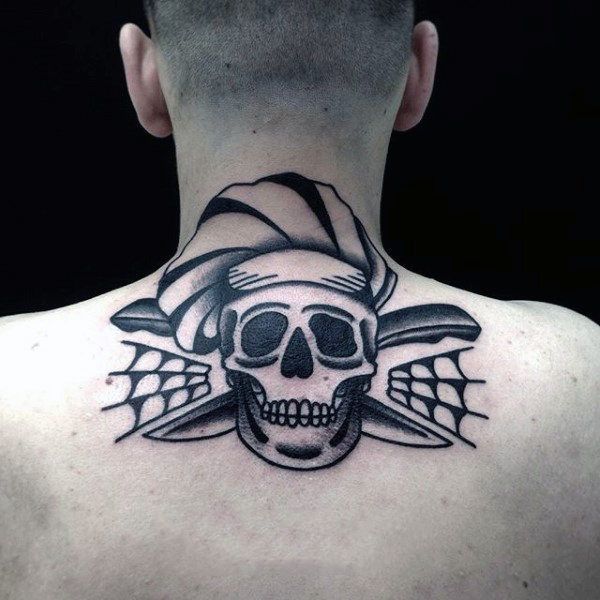50 Traditional Skull Tattoo Designs For Men Manly Ink Ideas Neck Tattoo Back Of Neck Tattoo Men Back Of Neck Tattoo