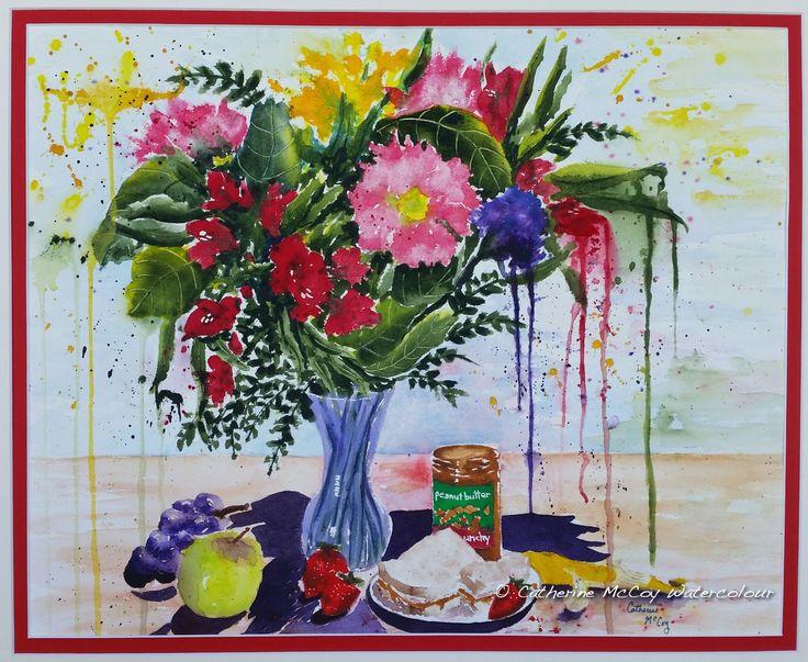 "Peanut Butter Splash. Watercolour 15"" x 19"" by Catherine McCoy"