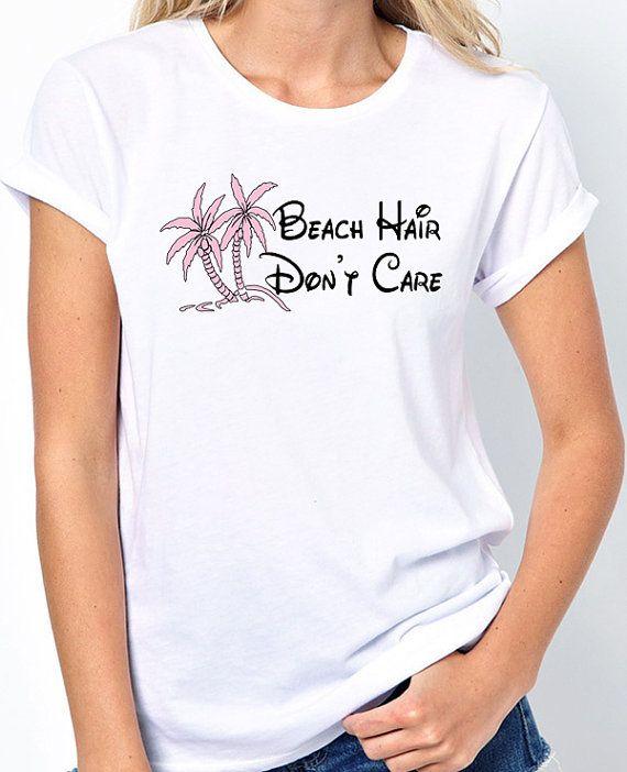 "Ladies Beach Shirt with Pink Palm Trees and says ""Beach Hair Don't Care"". BadassPrinting.com"