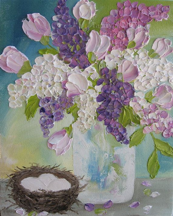 Lilacs and Roses Oil Painting, Impasto Oil Painting, Lilac Painting Wedding, Birthday, Cottage Chic Painting, Gift for Her