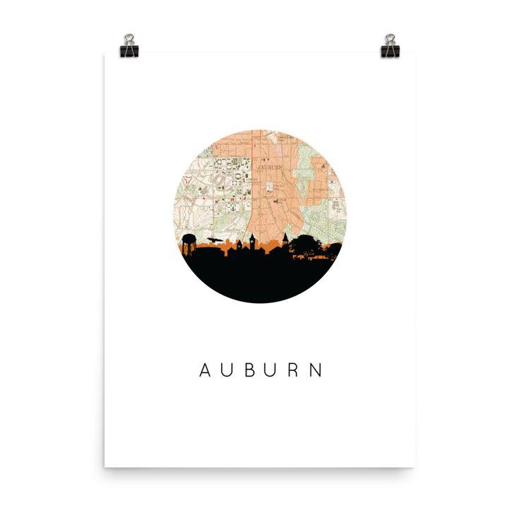 Auburn City Skyline Poster