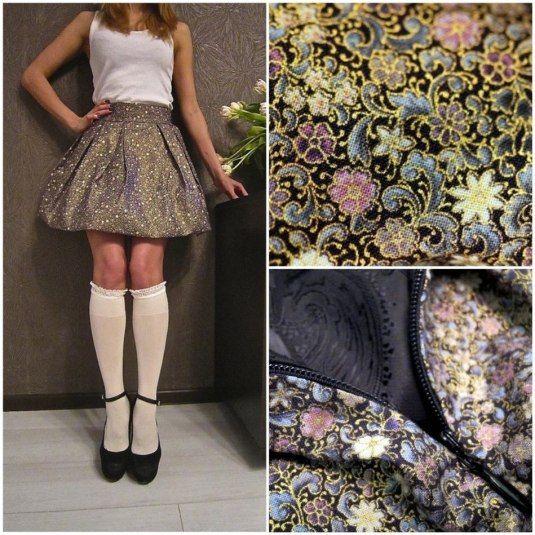 Юбка в цветочек в каталоге Одежда на Uniqhand - юбка, цветочный, колокольчик, хлопок 100%