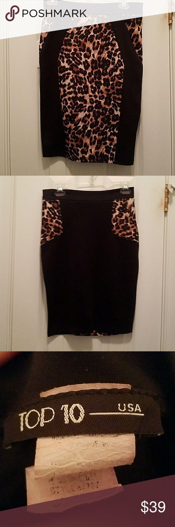 Cheetah Skirt Black with print. Worn once. top 10 Skirts Midi
