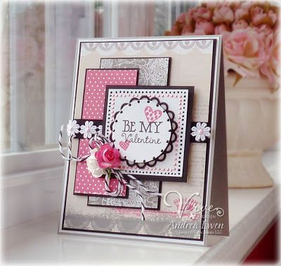 EwenStyle: Pink and grey Valentines card. Love the layout