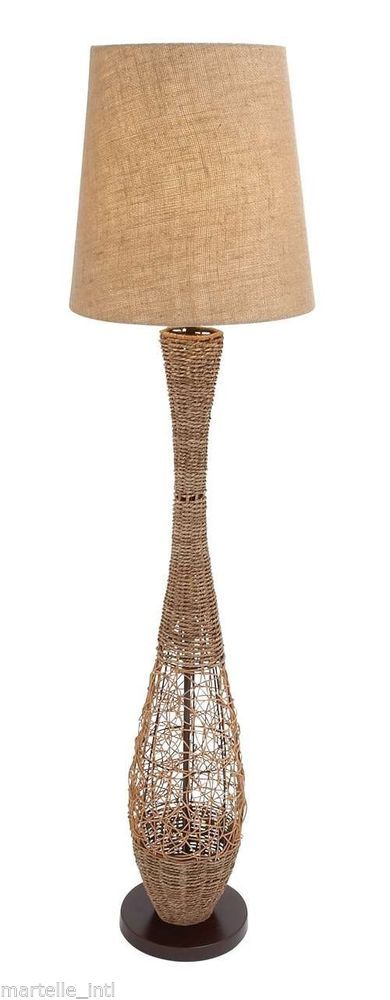 Metal and Rattan Floor Lamp with Elegant and Simple Styling Free Shipping New