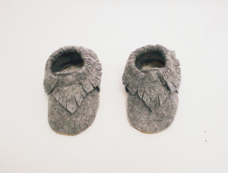 Baby Moccasins- Grey Felt & Vegan Leather Sole by Blueberriesforcall on Etsy https://www.etsy.com/listing/198229802/baby-moccasins-grey-felt-vegan-leather
