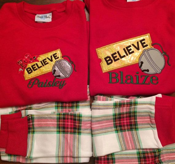 2016 Christmas Pajamas Polar Express by AnniesAppliquesMD on Etsy                                                                                                                                                                                 More