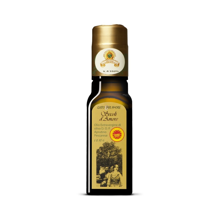 """$5.10 - EVOO """"Secoli D'Amore"""" - Extra virgin olive oil Aprutino Pescarese #POD 0,10L. A superb extra virgin olive oil made from olives of the """"Dritta"""" variety grown in #Abruzzo. The combination between a perfect processing method and passion for olive oil culture provide an exceptional extra virgin. Fruitage is medium, you can perceive the #flavor of field grass and artichoke. Its characteristics make it ideal for enriching fish dishes or roasts - olio DOP italiano -"""