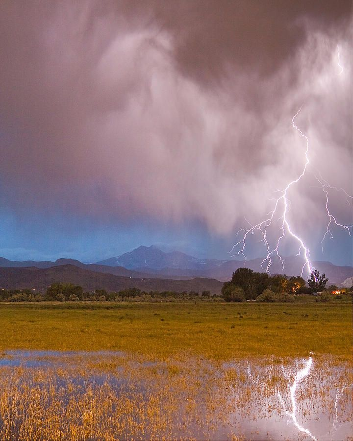 Lightning Striking the front range foothills of the Colorado Rocky Mountains in Boulder County.