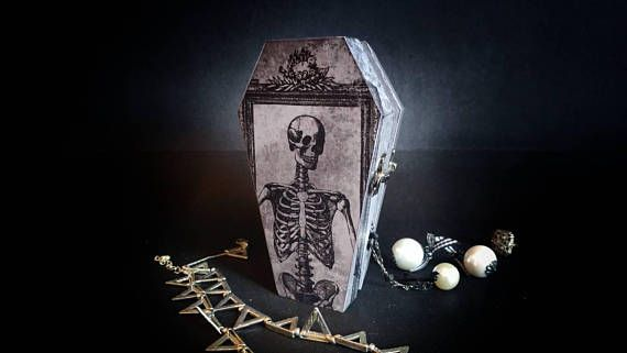 Wooden coffin wood casket, Beautiful handmade decorative boxes. Goth jewelry box, halloween candy box. Piggy bank hair accessories box. Victorian style  Hey, I found this really awesome Etsy listing at https://www.etsy.com/listing/547587730/small-coffin-casket-wooden-box-skeleton