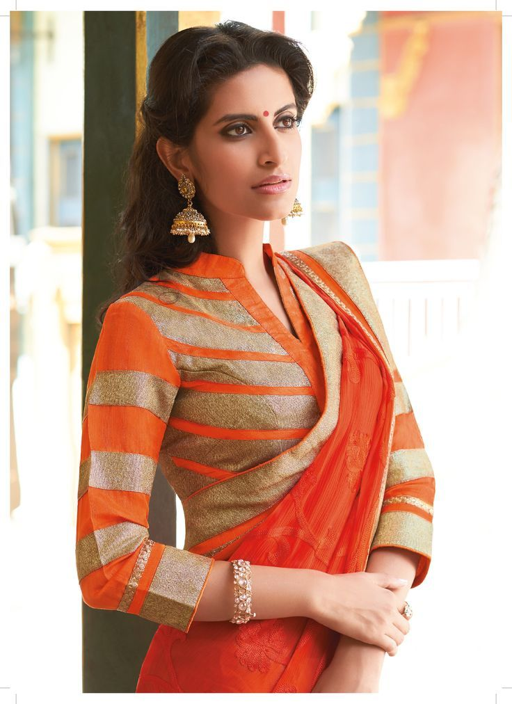 Orange chiffon saree with gold border and chinese collared quarter sleev blouse - MinMit Clothing. Get this in your favourite color tailored to your measurements delivered to your doorstep! To find out how visit www.faaya.in