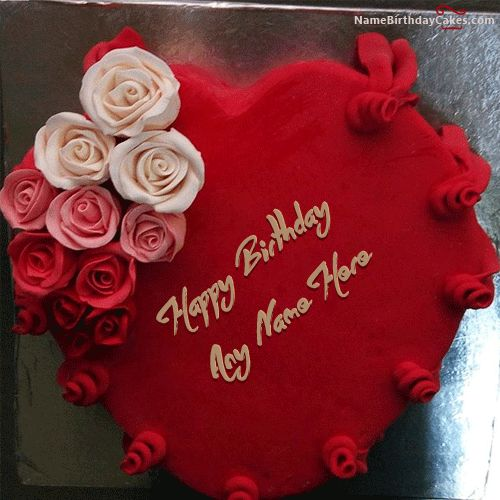 Write Name On Best Heart Red Velvet Birthday Cake Picture
