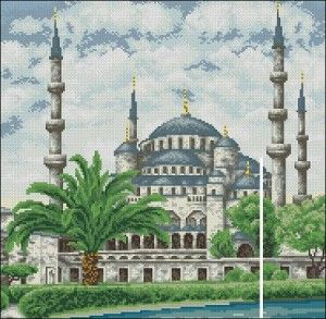 "Free cross-stitch pattern ""The Blue Mosque"". 