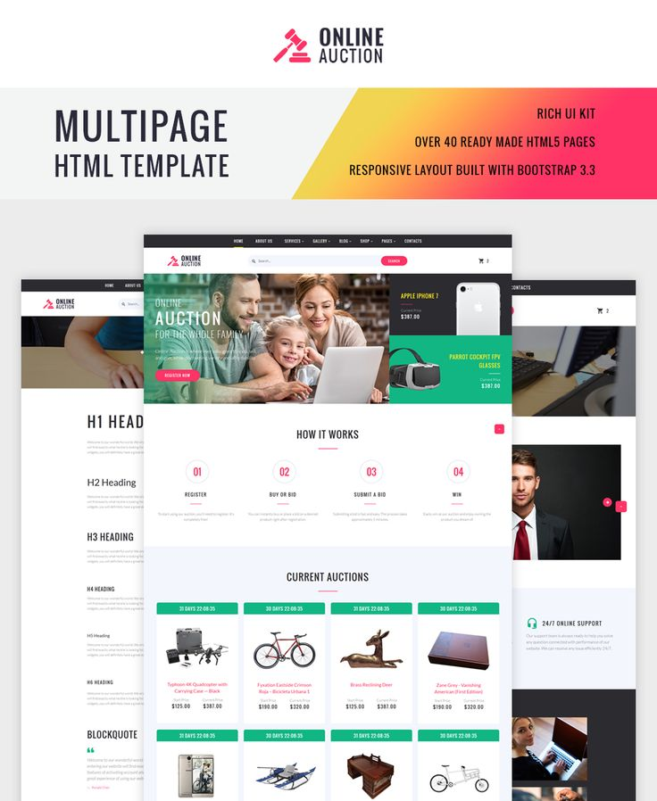 Website Template , Online Auction Multipage