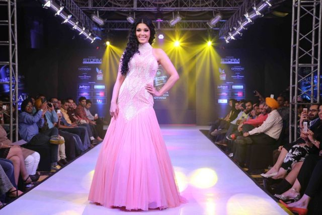 The beautiful Koena Mitra in AD SINGH couture pink gown at punjab international fashion week