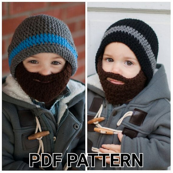 PATTERN: Crochet Beard Hat pattern with by TheresasCrochetShop