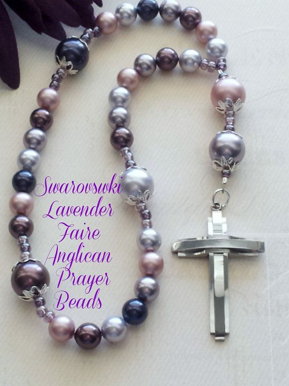 Anglican Prayer Bead Protestant Rosary Swarovski Lavender Faire Pears by FaithExpressions on Etsy