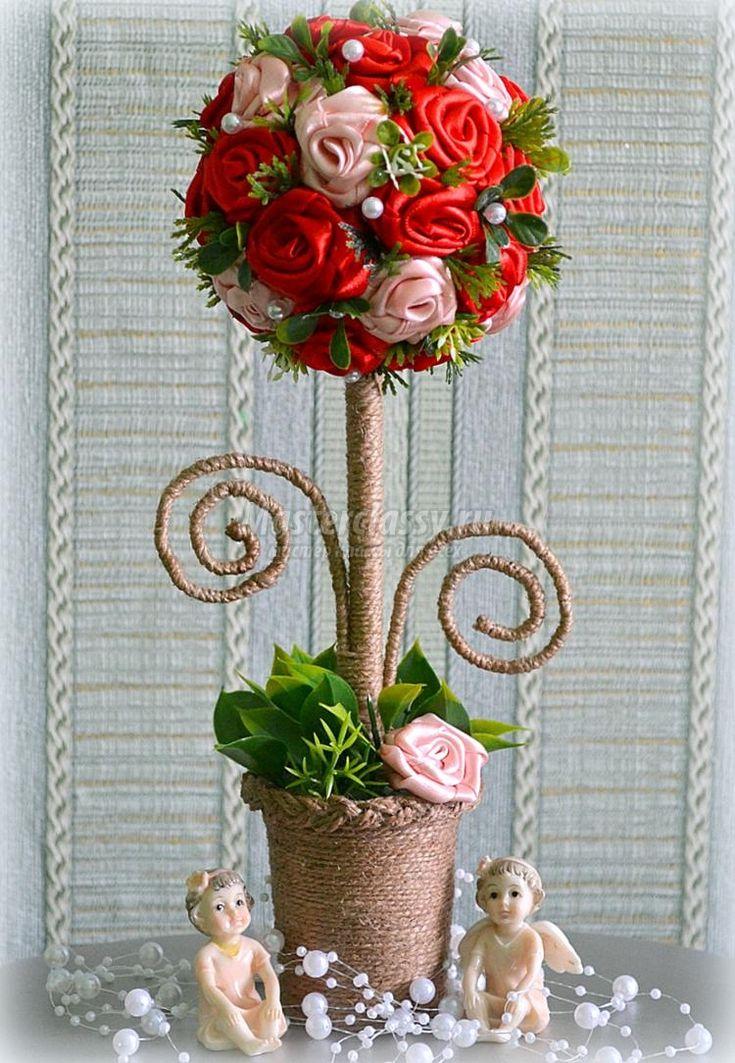 Топиарий с розами из атласных лент. Мастер-класс с пошаговыми фото