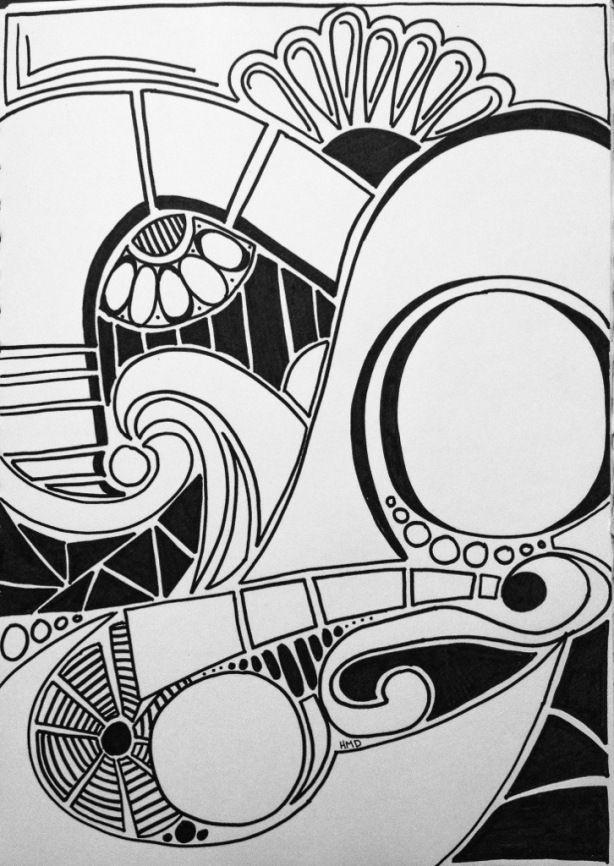 Retro Doodle Art by Heidi Denney sharpie art zentangle