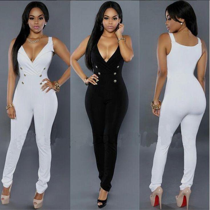 Noir blanc femmes salopette 2016 d'été sexy sans manches bouton côtés moulante salopette plus la taille combinaisons complètes femmes barboteuse XD822(China (Mainland))