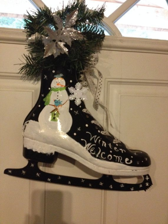 Winter Welcome Hand Painted Ice Skate by MyPaintedTreasures