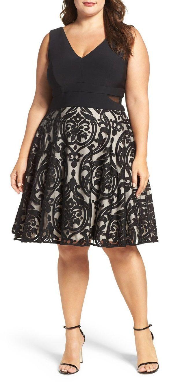Plus Size Flocked Skirt Party Dress