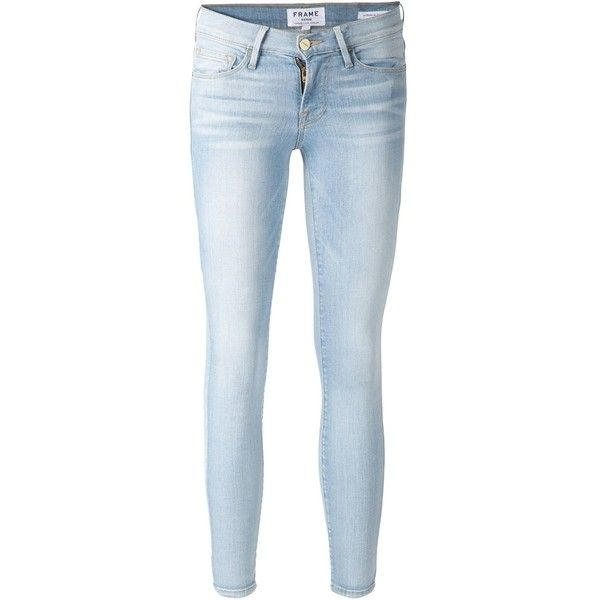 FRAME Denim Le Skinny De Jeanne Cropped Jean ($185) ❤ liked on Polyvore featuring jeans, pants, bottoms, all bottoms, kirna zabete, blue skinny jeans, frame denim, frayed jeans, faded jeans and skinny jeans