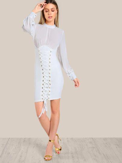 Mesh Top Corset Inpired Dress IVORY  af4b53e89