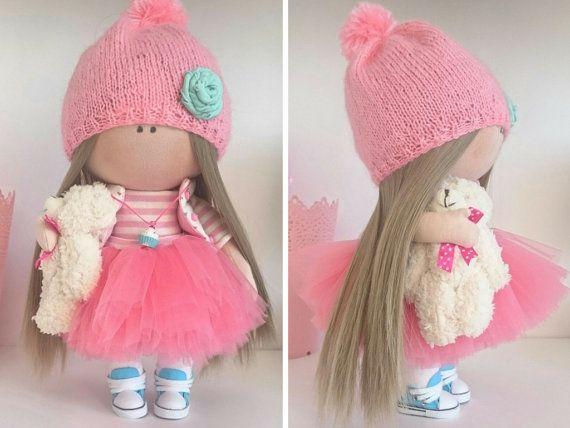 Pink doll TIlda doll Handmade doll Nursery por AnnKirillartPlace
