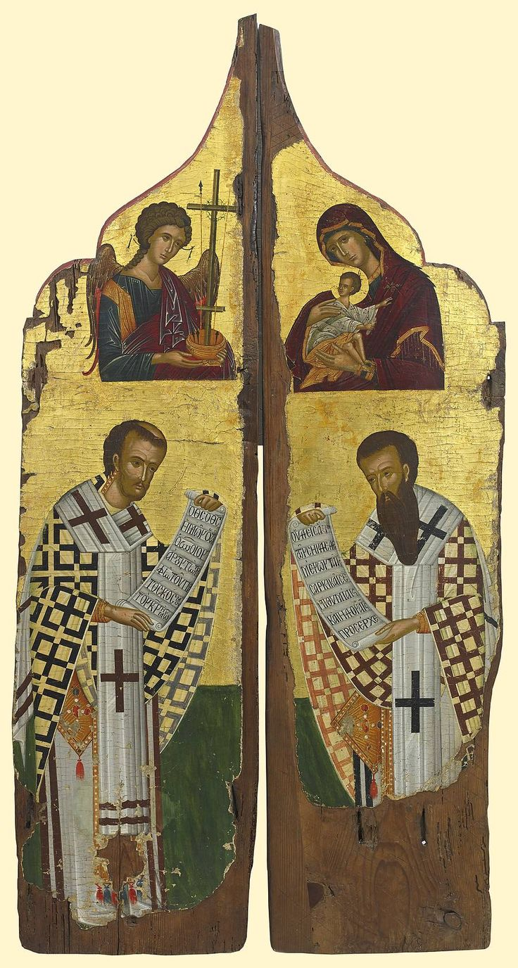 """Royal Doors with the Virgin of the Passion, Saint John Chrysostom (left) and Saint Basil the Great (right), Cretan style, first half of the 16th century, Two panels: 54-3/4"""" x 29-1/2""""; The Temple Gallery. Inscriptions in Greek on the scroll of Saint John: """"O God, our God, who did send forth the heavenly bread...""""; on the scroll of Saint Basil: """"No one bound by world pleasures and desires is worthy..."""""""